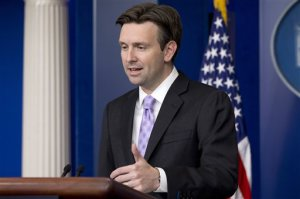 White House press secretary Josh Earnest speaks about Ebola during his daily news briefing at the White House in Washington, Monday, Oct. 27, 2014. (AP Photo/Jacquelyn Martin)