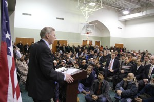 Mark Keam is giving speech as American muslims hold a vigil at ADAMS main center in Virginia on February 13, 2015 for three Muslim students who were shot dead in Chapel Hill, North Carolina. Muslim students Deah Barakat, 23, his wife Yusor Mohammad Abu-Salha, 21, and her sister Razan Mohammad Abu-Salha, 19, were shot dead at their home on Tuesday in Chapel Hill, North Carolina.