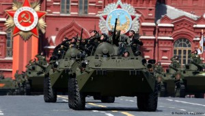 BTR-82A armored personnel carriers were among the high-tech militrary equipment on display