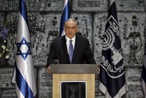 Israeli Prime Minister Benjamin Netanyahu speaks during a ceremony at President Reuven Rivlin's residence in Jerusalem