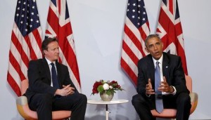 U.S. President Barack Obama (R) meets with British Prime Minister David Cameron at the G7 Summit in Kruen, Germany June 7, 2015.