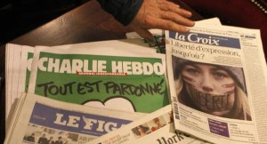 Copies of the latest issue of Chalie hebdo newspaper
