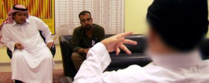 The sheikh tells his story to VICE co-founder Suroosh Alvi as Colonel Omar Alzallal Alkahtani of the Ministry of the Interior looks on.