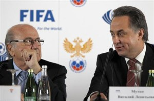 File-FIFA President Sepp Blatter (L) and Russian Sports Minister Vitaly Mutko attend a news conference in St. Petersburg January 20, 2013.