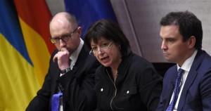(L-R) Ukrainian Prime Minister Arseniy Yatsenyuk, Ukraine's Finance Minister Natalie Jaresko and Ukrainian Minister for Economy and Trade Aivaras Abromavicius.