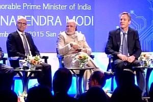 PM Narendra Modi with Microsoft CEO Satya Nadella and Qualcomm Executive Chairman Paul E Jacobs.
