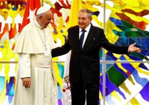 Pope Francis stands with Cuba's President Raul Castro in the Revolution Palace in Havana, Cuba, Sept. 20, 2015
