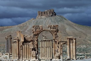 The Arch of Triumph, one of the most recognisable sites in the Syrian city of Palmyra (pictured before it was destroyed), has been blown up by ISIS