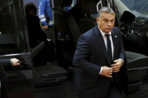 Hungary's Prime Minister Viktor Orban arrives at a European Union leaders summit in Brussels, Belgium, October 15, 2015.