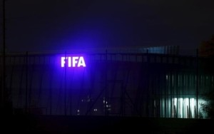 The FIFA logo is seen outside their headquarters in Zurich