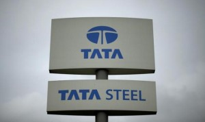 A Tata Steel sign is seen outside their plant in Scunthorpe northern England