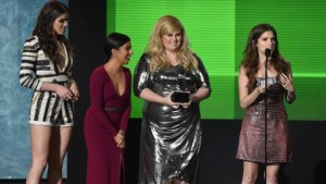 Anna Kendrick was joined by the cast of Pitch Perfect 2 as she accepted the prize for best soundtrack.
