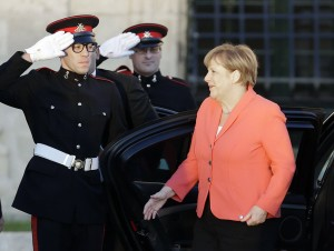 German Chancellor Angela Merkel arrives at the Auberge de Castille palace, the Prime Minister office, on the occasion of an informal European Union and African leaders summit on migration held in Valletta, Malta, Wednesday, Nov. 11, 2015. The meeting of leaders is to map strategy to beef up development project aid in Africa and set up mechanisms to repatriate migrants Europe says don't deserve its protection