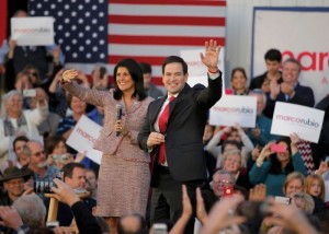 South Carolina Governor Nikki Haley (L) and U.S. Republican presidential candidate Marco Rubio react on stage during a campaign event in Chapin, South Carolina February 17, 2016. Haley announced her endorsement of Rubio for the Republican presidential nomination.