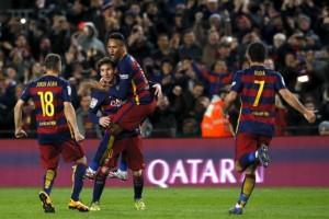Football Soccer - Barcelona v Sevilla - Spanish Liga BBVA - Camp Nou stadium, Barcelona - 28/2/16. Barcelona's Arda Turan, Jordi Alba, Lionel Messi and Neymar celebrates a goal against Sevilla. REUTERS/Albert Gea