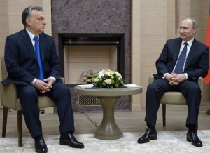 Russian President Vladimir Putin, right, meets with Hungarian Prime Minister Viktor Orban at the Novo-Ogaryov residence outside Moscow on Wednesday, Feb 17, 2016
