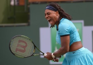 Mar 13, 2016; Indian Wells, CA, USA; Serena Williams (USA) reacts as she wins a point during her 3rd round match against Yulia Putintseva (KAZ) at the BNP Paribas Open at the Indian Wells Tennis Garden.