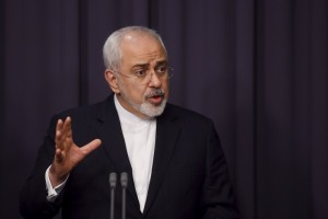 Iranian Foreign Minister Mohammad Javad Zarif speaks during a joint news conference with Australian Foreign Minister Julie Bishop (not pictured) at Australia's Parliament House in Canberra, March 15, 2016.