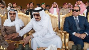 In this Thursday March 10, 2016 photo released by the Saudi Press Agency, SPA, Saudi King Salman, middle, watches military exercises code named North Thunder with Egyptian President Abdel Fattah el-Sisi, right, and the Emir of Kuwait Sheikh Sabah Al-Ahmad Al-Jaber Al-Sabah, left, in Hafr Al-Baten, Saudi Arabia. (Saudi Press Agency via AP)