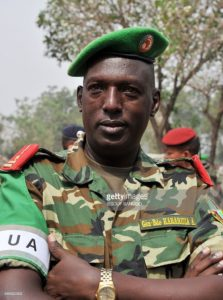 Burundi's Brigadier General and African Union-led MISCA mission Commander Athanase Kararuza poses on February 5, 2014 after listening to a speech by Centrafrica's interim president during a military ceremony in Bangui's National School for the Judiciary.