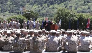 Navy Secretary Ray Mabus speaks to Marines regarding women in combat during a speech at the Camp Pendleton Marine Base, Tuesday, April 12, 2016, at Camp Pendleton, Calif.