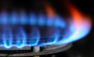 A gas cooker is seen in Boroughbridge, northern England.