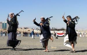 Yemeni supporters of Shiite Huthi rebels and militiamen.