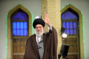 Iran's Supreme Leader Ayatollah Ali Khamenei waves as he arrives to address workers in Tehran, Iraq, April 27, 2016.
