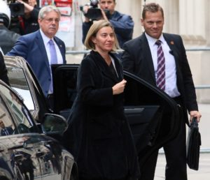 E.U foreign policy chief Federica Mogherini arrives for Libya talks in Vienna, Austria, Monday May 16, 2016.
