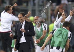 Juventus' coach Massimiliano Allegri celebrates with his players at the end of the match against AC Milan.  Italian Cup Final - Olympic stadium, Rome, Italy - 21/05/16