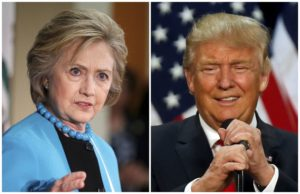 A combination photo shows U.S. Democratic presidential candidate Hillary Clinton (L) and Republican U.S. presidential candidate Donald Trump (R) in Los Angeles, California on May 5, 2016 and in Eugene, Oregon, U.S. on May 6, 2016 respectively.