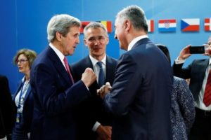 L-R) U.S. Secretary of State John Kerry, NATO Secretary-General Jens Stoltenberg and Montenegro's Prime Minister Milo Djukanovic attend a NATO foreign ministers meeting at the Alliance headquarters in Brussels, Belgium, May 19, 2016.