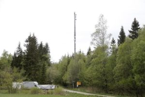The broken top of a 300-metre high telecom mast is seen outside Boras, Sweden, May 16, 2016.