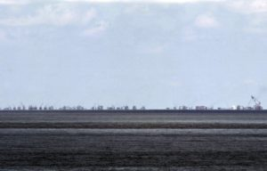 The alleged on-going land reclamation of China at Subi reef is seen from Pagasa island (Thitu Island) in the Spratlys group of islands in the South China Sea, west of Palawan, Philippines.