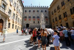 The entrance of Monte dei Paschi bank headquater is pictured in downtown Siena, Italy.