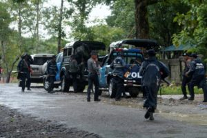 Police forces prepare to patrol in Maungdaw township at Rakhine state, northeast Myanmar, October 12, 2016.
