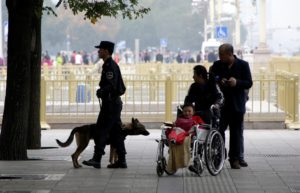 A police dog works next to Tiananmen Square on the first day of a plenary session of the 18th Central Committee of the Communist Party of China (CPC), in Beijing, China, October 24, 2016.