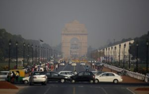 India Gate, one of the landmarks of central Delhi, is covered with a thin layer of smog before Diwali festival in New Delhi, India. Friday, Oct. 28, 2016. As north Indian cities enter the season of high air pollution, a new report is warning about the dangers to children.