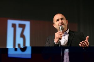 Rumen Radev, presidential candidate of the Bulgarian Socialist Party, speaks during an election rally in Karlovo, Bulgaria November 4, 2016.