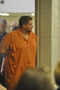Todd Kohlhepp's enters the courtroom of Judge Jimmy Henson for a bond hearing at the Spartanburg Detention Facility, in Spartanburg, S.C. Sunday, Nov. 6, 2016.