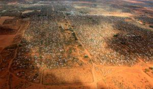 An aerial view shows makeshift shelters at the Dagahaley camp in Dadaab, near the Kenya-Somalia border in Garissa County, Kenya, April 3, 2011.
