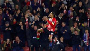 Southampton's Virgil van Dijk celebrates scoring their first goal.