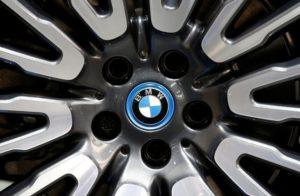 View of a BMW logo on a wheel at the Mondial de l'Automobile, Paris auto show, during media day in Paris